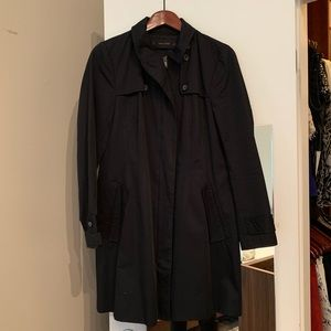 Zara Basic Black Trench Coat - L